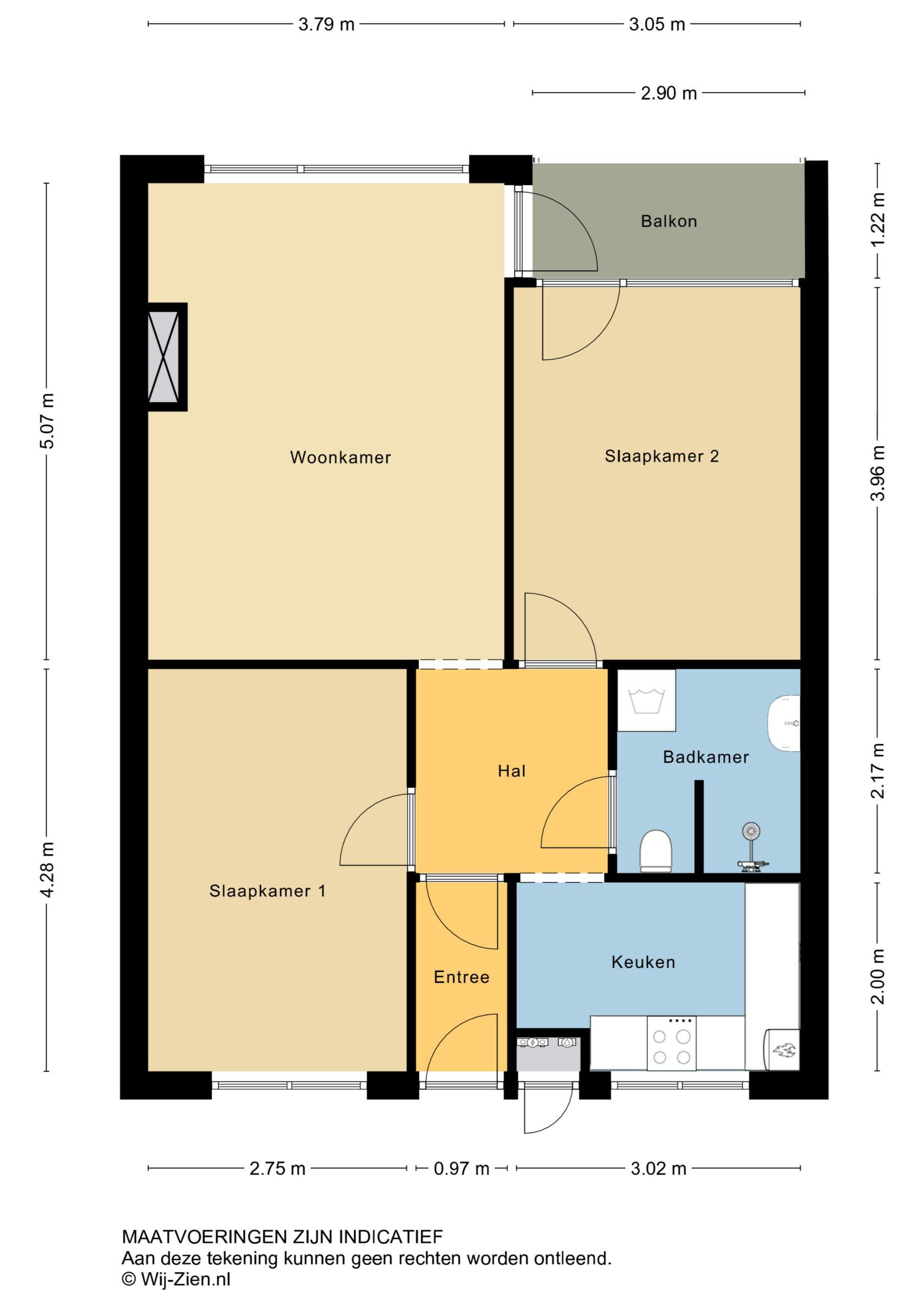 Plattegrond Galerijflat Burgemeester Jansenlaan 435 , Zwijndrecht